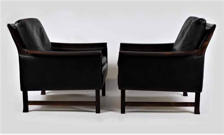 Pair Of High Quality Black Leather Club Chairs Minerva, Designed By  Norwegian Designer Torbjørn Afdal