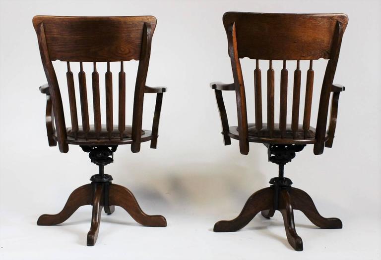 German Pair Of American Oak Swivel Desk Chairs, 1930s For Sale