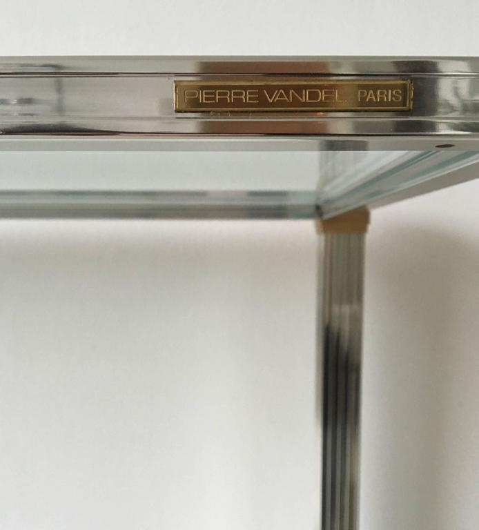 pierre vandel two tiered console table with beveled glass 1960s at 1stdibs. Black Bedroom Furniture Sets. Home Design Ideas