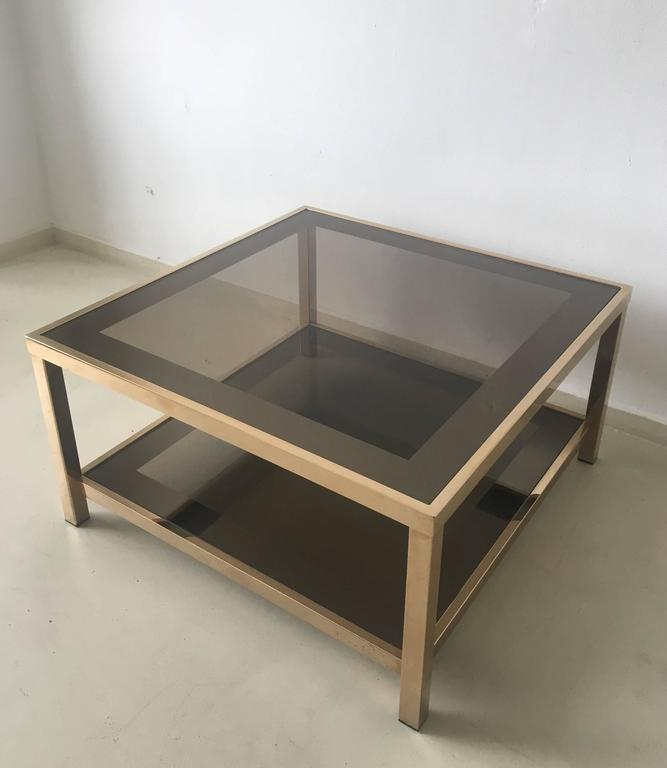 Gold Plated Coffee Table: 23-Carat Rectangular Gold-Plated Coffee Table, 1960s For