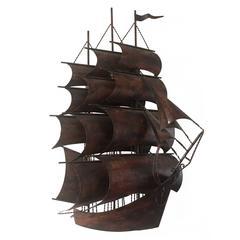 Brutalistic Backlit Metal Boat, Wall Sculpture, Jeré era