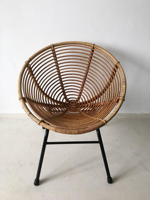 Rare Rattan Lounge Chair By Roh 233 Noordwolde 1960s At 1stdibs