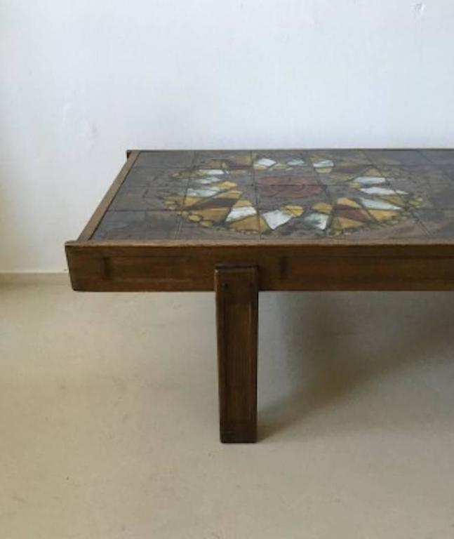 Mid Century Modern Oak Frame And Ceramic Coffee Table By J Belarti 1970s