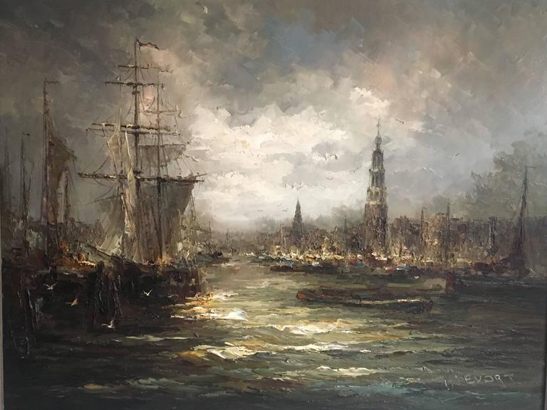 This extra large painting was created by John (Johannes, Hubertus) Be´vort, from the Netherlands. It features a maritime or harbour scene and was painted with dark colors showing a rough weather scene. Seagulls complete it, together with upcoming