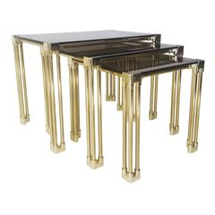 Hollywood Regency Style Nesting Tables with Brass Colored Metal Frame, 1970s