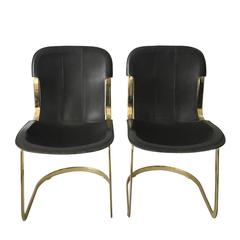 Brass and Leather Dining Chairs by Willy Rizzo for Cidue, 1960s, Set of Two