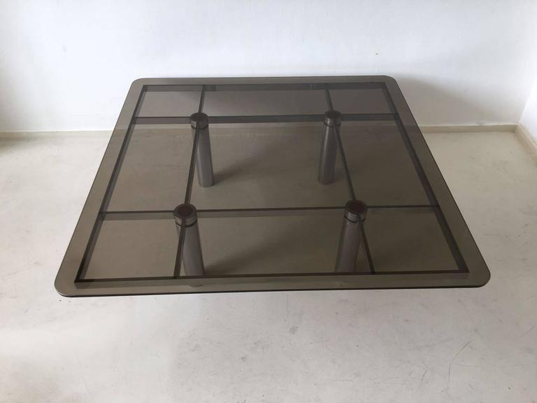 Mid-Century Modern Tobia Scarpa Square Glass Coffee Table for Gavina, 1960s For Sale