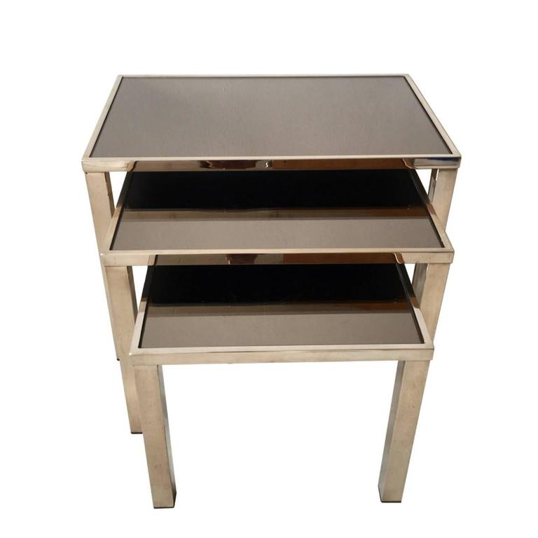 Rare Set of 23-Carat Gold Plated Nesting Tables by Belgo Chrome, Belgium, 1960s