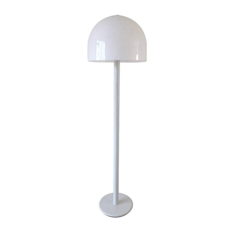 White Mid-Century Modern Mushroom Floor Lamp, 1960s