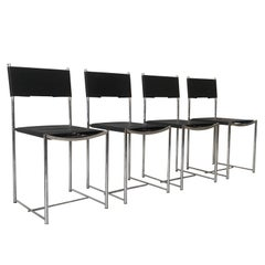 Set of Four Natural Leather Spaghetti Chairs by G. Belotti for Alias, 1980s