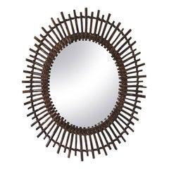Oval Mid-Century Modern Spanish Rattan Sunburst Mirror, 1960s