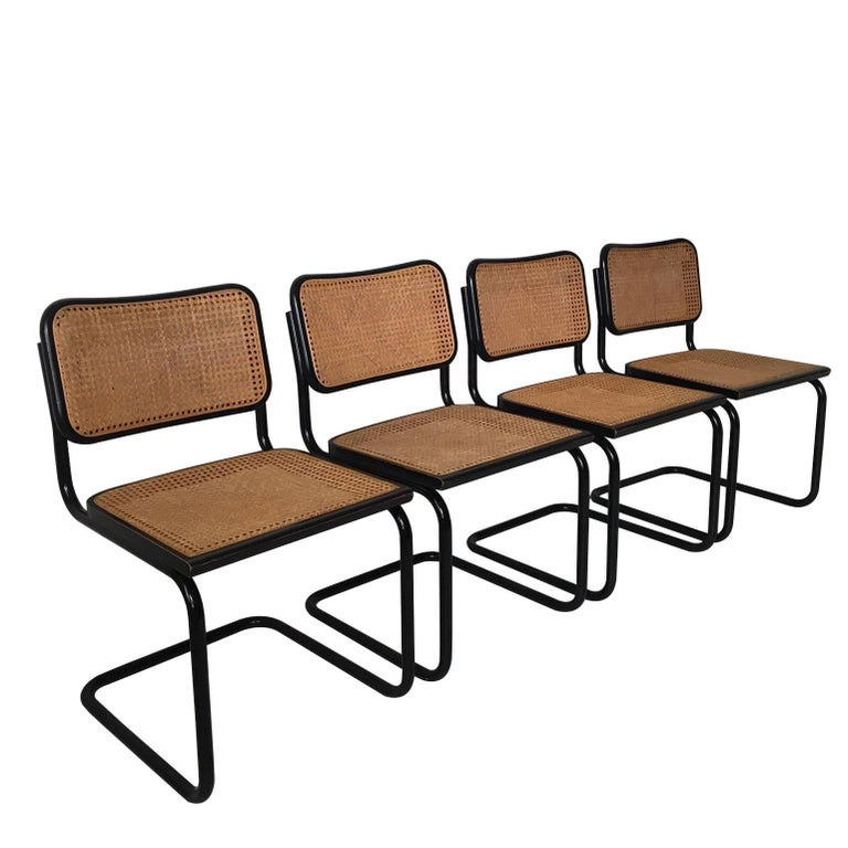 Set of Four Black Italian Dining Chairs by Marcel Breuer for Cidue, 1970s For Sale