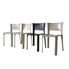 Set of Four Leather Dining Chairs, Model S91 by Giancarlo Vegni for Fasem