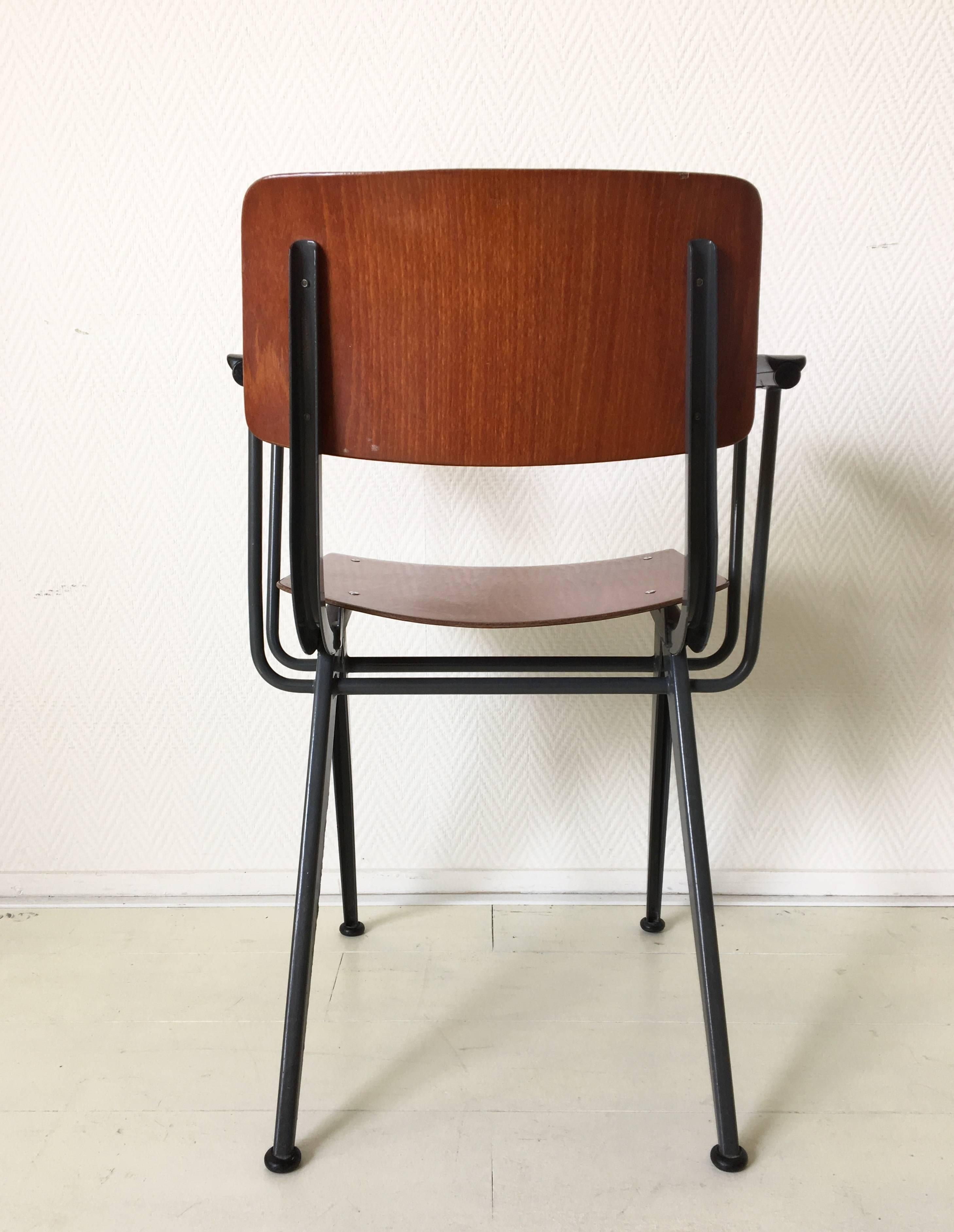 Metal Midcentury Prouvé Inspired Industrial Armchair Attributed To Friso  Kramer For Sale