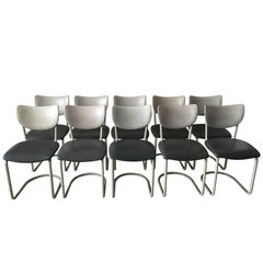 Gebr. De Wit, Industrial, Tubular Dining room chairs, Model 2011, 1950s