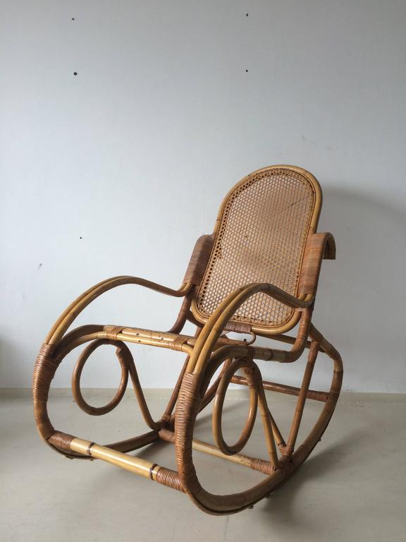 Vintage Bamboo Rocking Chair 1960s At 1stdibs