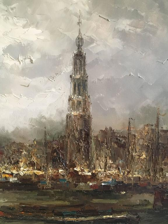 Mid-Century Modern Impressionist Oil on Canvas Painting by John Bevort, Harbor Scene For Sale