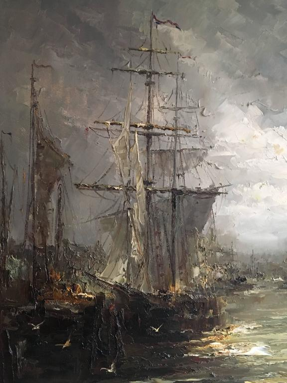 Dutch Impressionist Oil on Canvas Painting by John Bevort, Harbor Scene For Sale