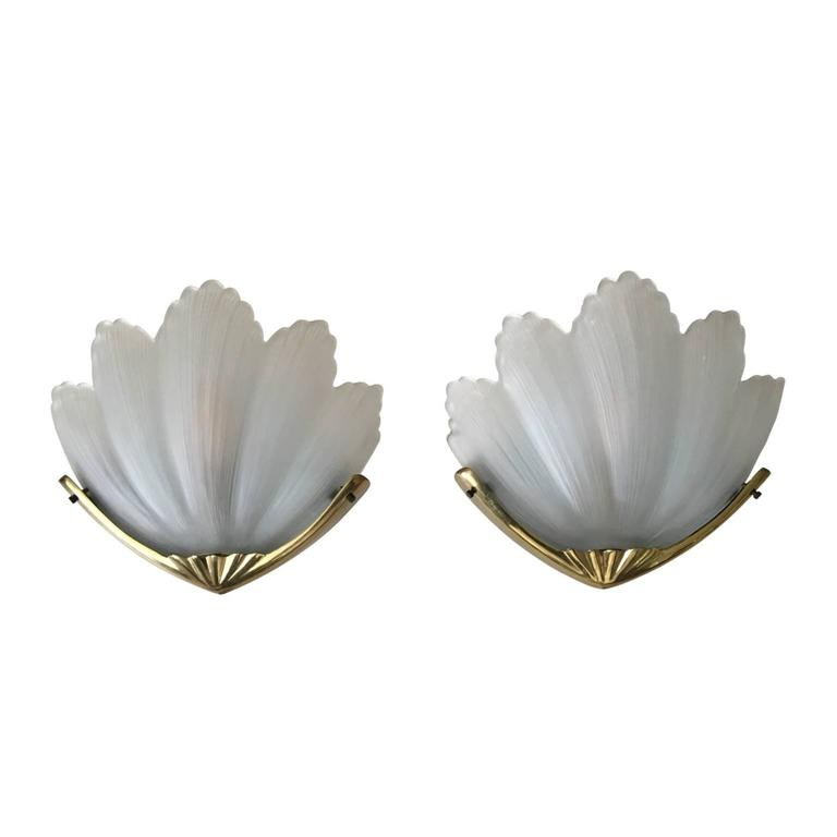 Stunning Frosted Glass Shell Sconces in Gold Coloured Metal Holder, 1960s-1970s For Sale at 1stdibs