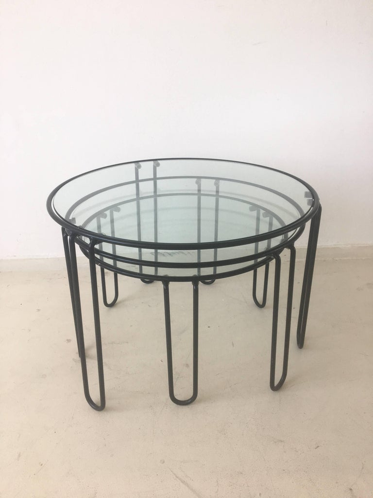 Set Of Three Mid Century Metal And Glass Black Coffee Tables With Hairpin Legs For Sale At 1stdibs