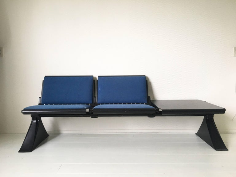 Industrial Metal Bench with Blue Fabric and Table by Artifort For ...