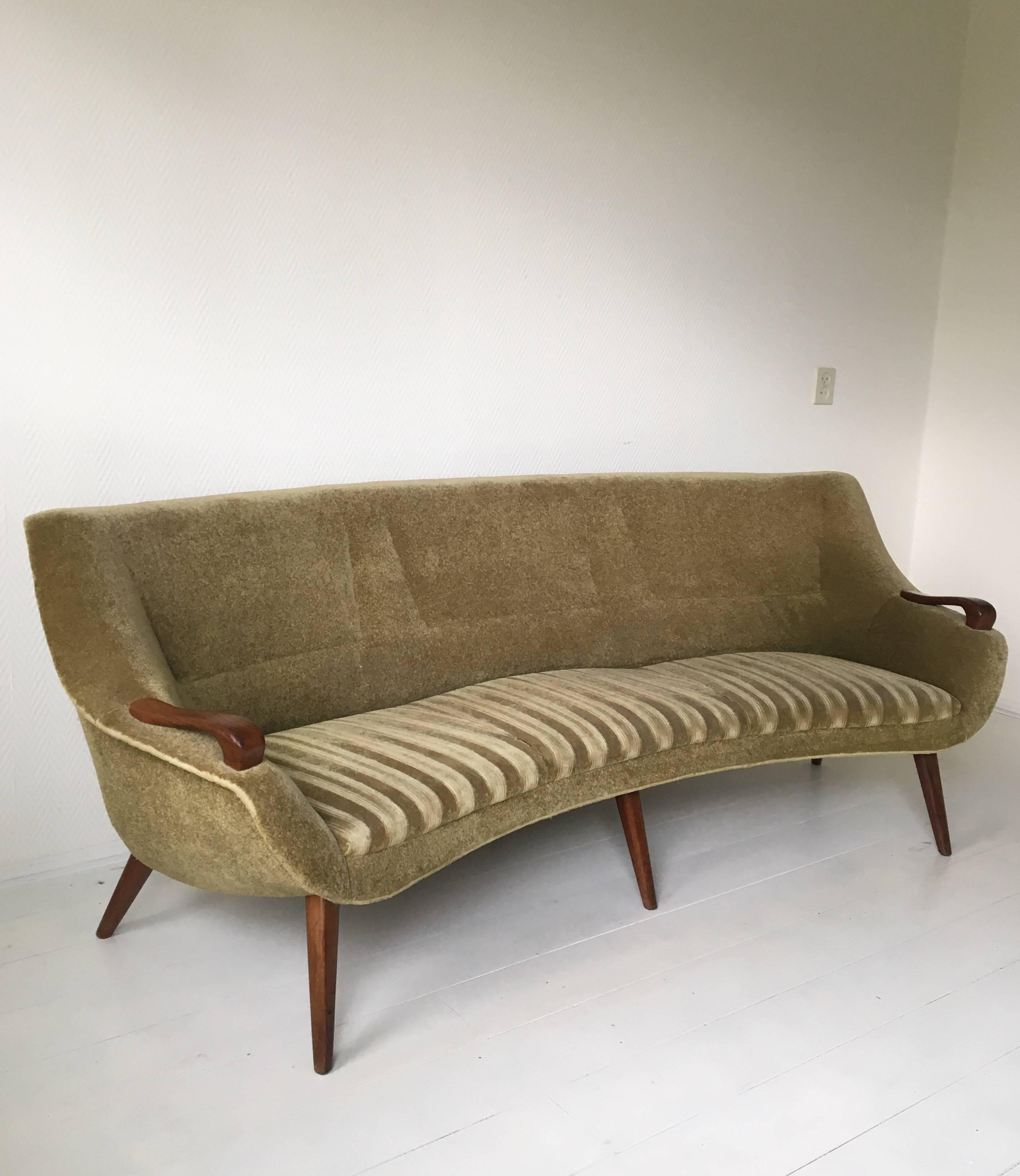 Ico Parisi Style Sofa Set With Teak Details And Green Fabric. LAST CHANCE  SALE