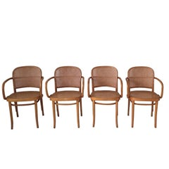 Josef Hoffmann, Bentwood and Cane 'Praque' Chairs, Set of Four, 1960s