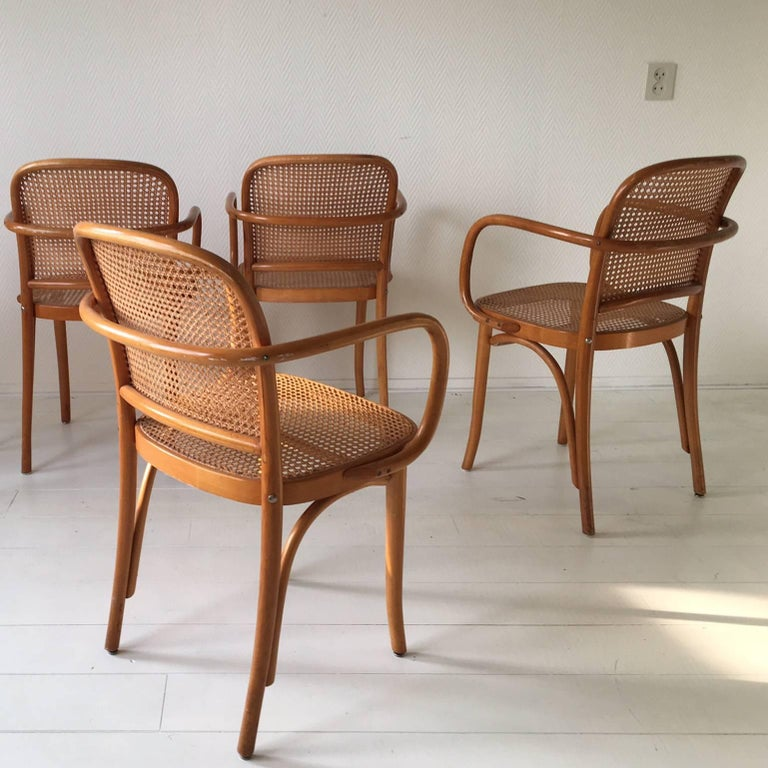 Mid Century Modern Josef Hoffmann Bentwood And Cane No 811 Chairs Set