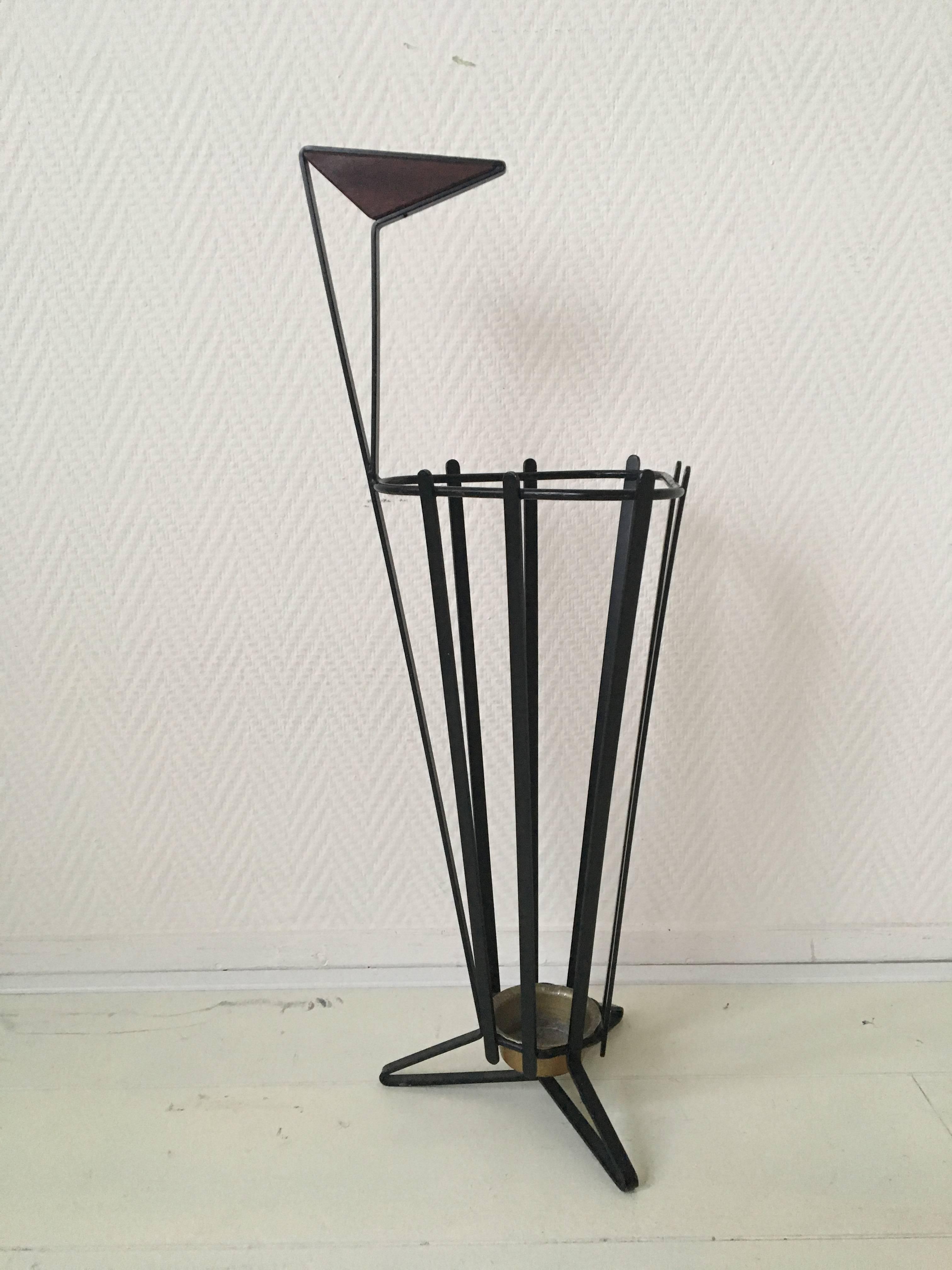 Umbrella Stand Designs : Metal and teak tripod umbrella stand in style of mathieu matégot