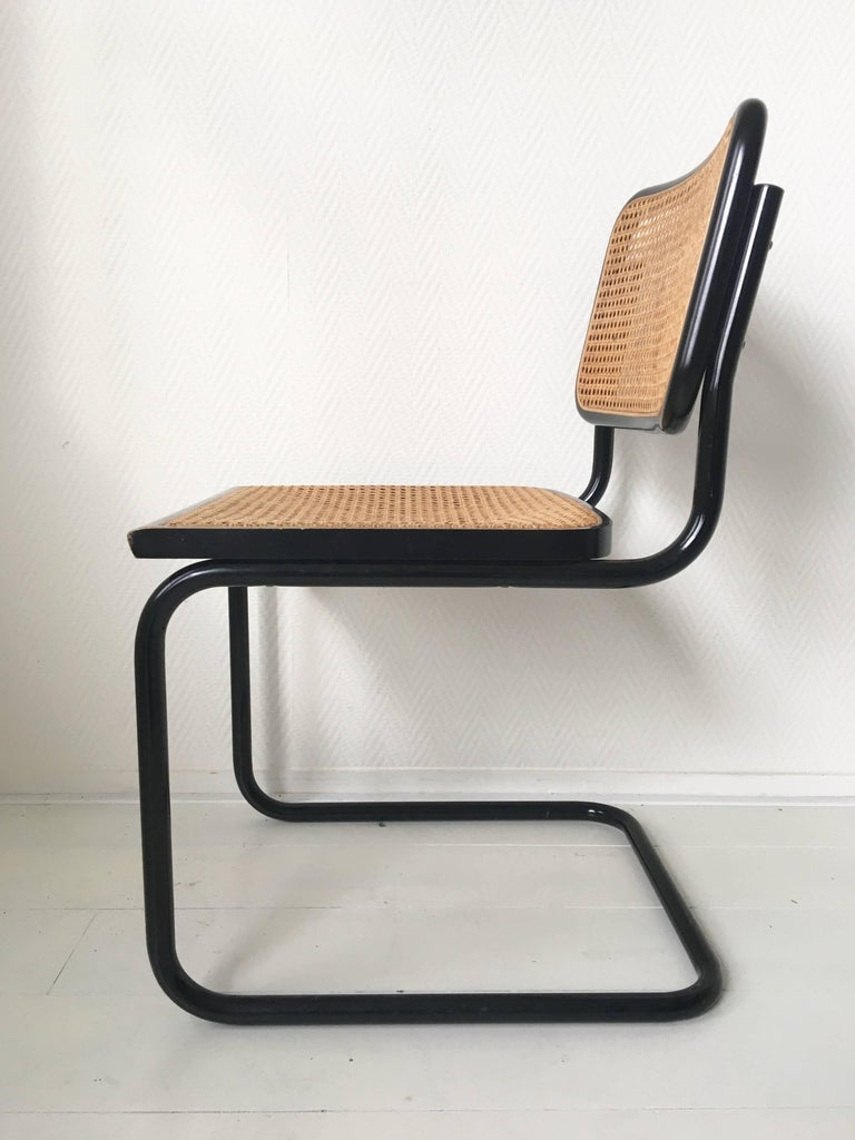 Set of Four Black Italian Dining Chairs by Marcel Breuer for Cidue, 1970s In Excellent Condition For Sale In Schagen, NL