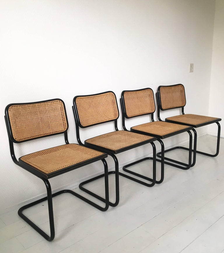 Lacquered Set of Four Black Italian Dining Chairs by Marcel Breuer for Cidue, 1970s For Sale