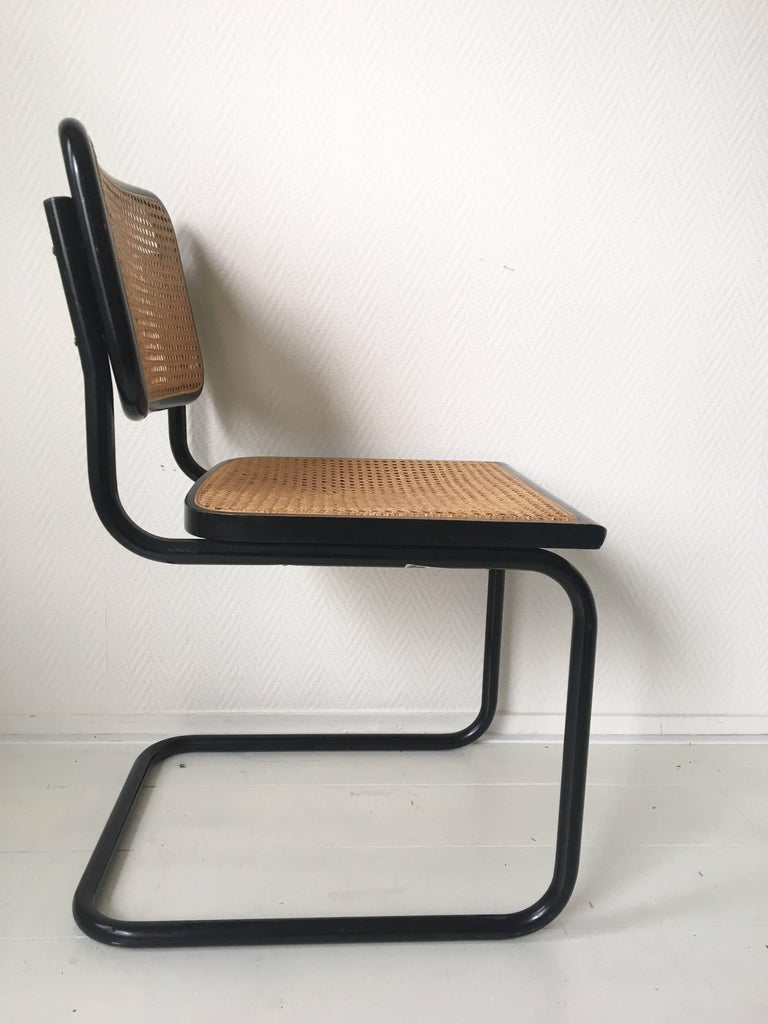 Metal Set of Four Black Italian Dining Chairs by Marcel Breuer for Cidue, 1970s For Sale