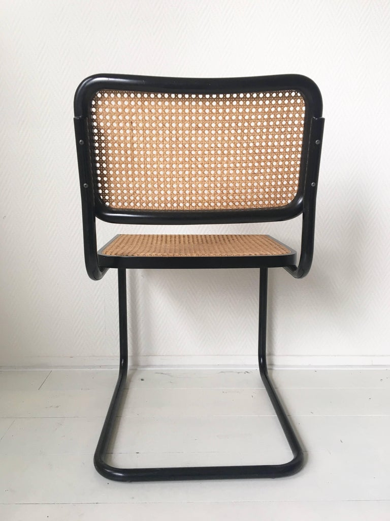 Late 20th Century Set of Four Black Italian Dining Chairs by Marcel Breuer for Cidue, 1970s For Sale