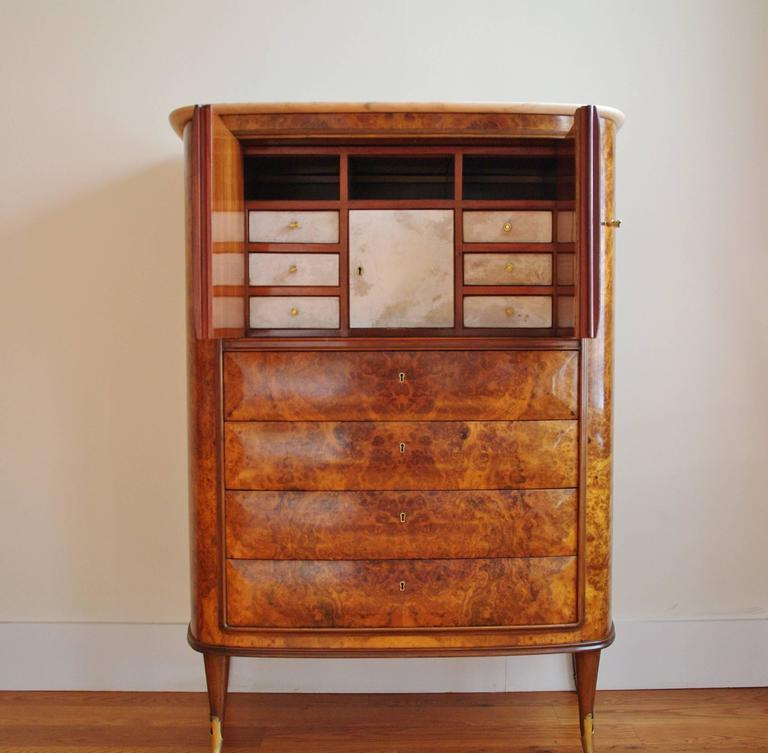 Mid-Century Modern Rare Italian Secretaire Attributed to Osvaldo Borsani with Marble Top For Sale
