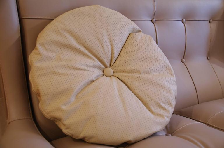 Large Round Decorative Pillow : Italian Leather Decorative Pillow by Arflex, Italy For Sale at 1stdibs