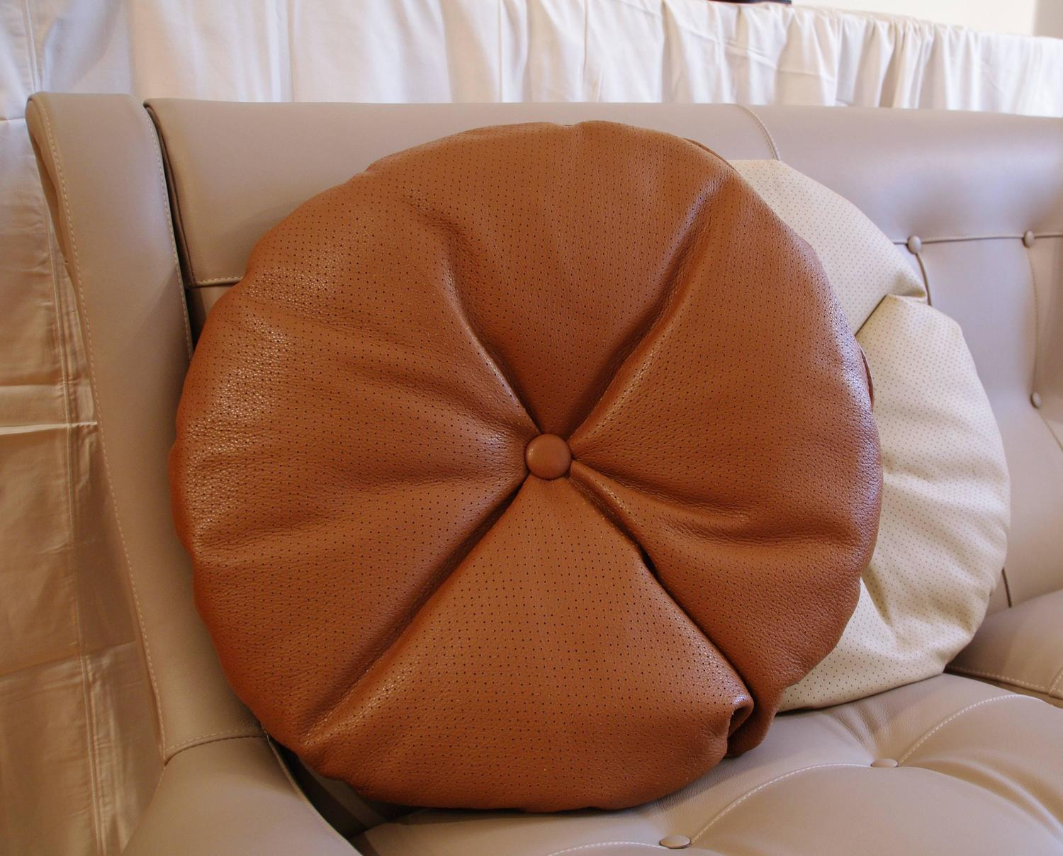 Large Round Decorative Pillow : Italian Leather Decorative Pillow with Button by Arflex, Italy For Sale at 1stdibs