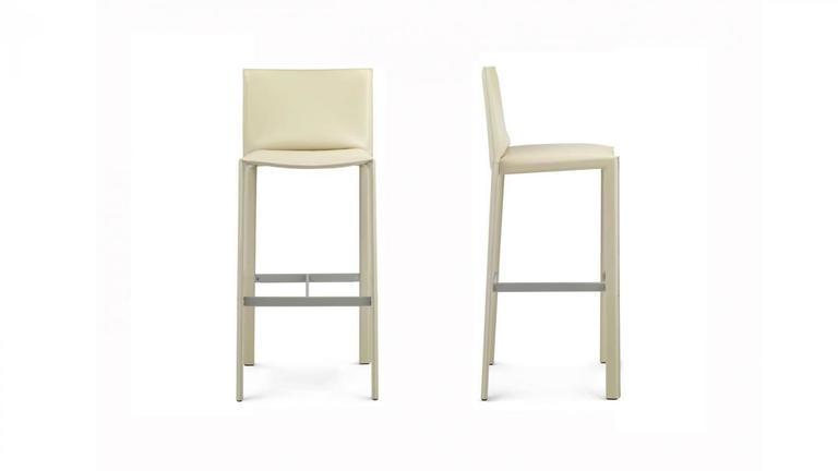 Italian Modern Leather Bar Stools 09 Made In Italy New