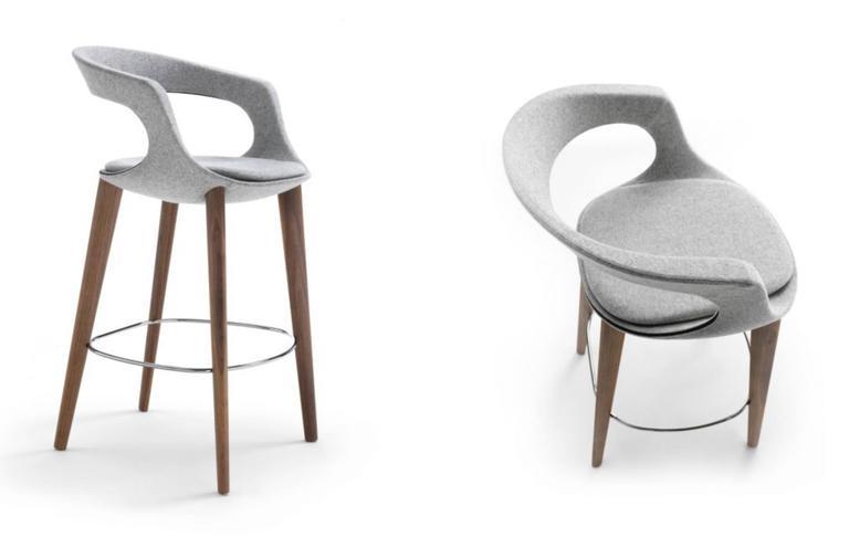Modern Italian Bar Stool, Wood Legs, Felt or Leather Upholstery, Custom-Made 4