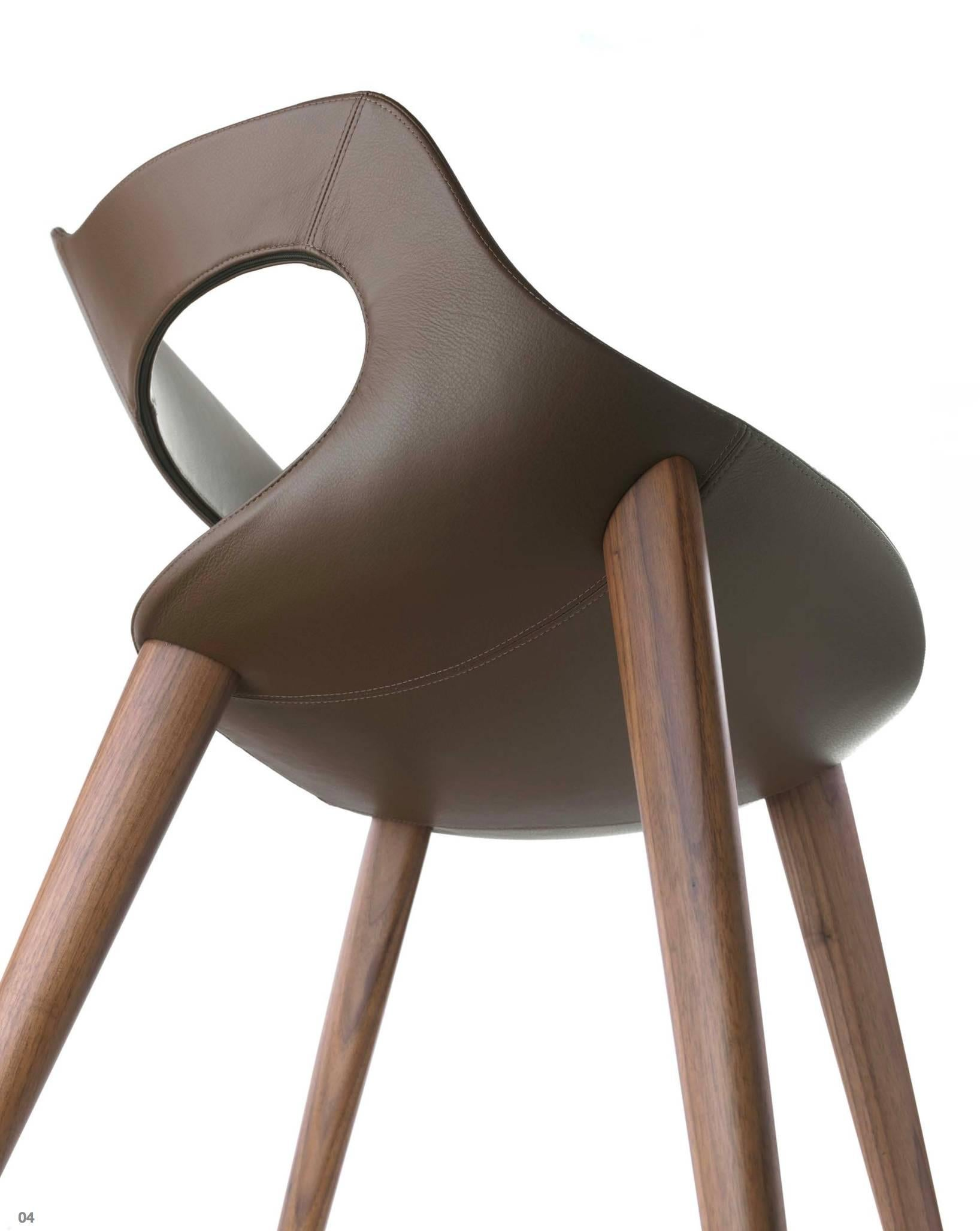 Italian Contemporary Dining Chair Made In Italy, Leather For Sale At 1stdibs