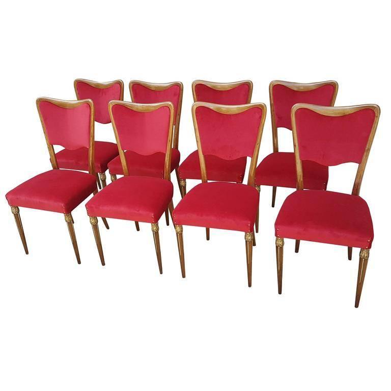 Eight Osvaldo Borsani Dining Room Chairs Restored, Red Velvet, Brass Decor For Sale