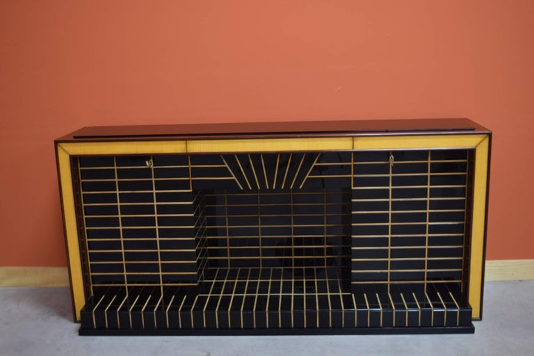 Italian Midcentury Bar Cabinet, Wood with Black Glass and Mirrors only 1 left 5
