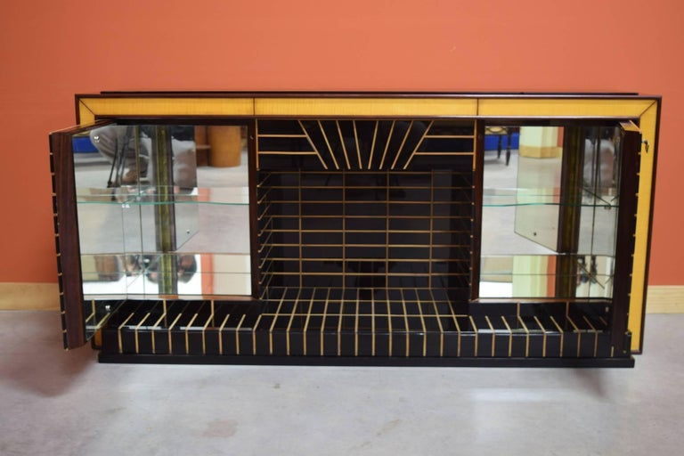 Italian Midcentury Bar Cabinet, Wood with Black Glass and Mirrors only 1 left 4