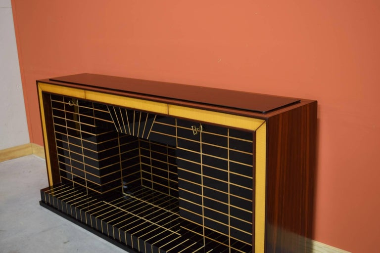 Italian Midcentury Bar Cabinet, Wood with Black Glass and Mirrors only 1 left 7