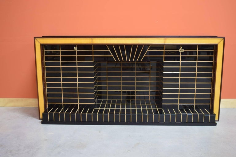 Italian Midcentury Bar Cabinet, Wood with Black Glass and Mirrors only 1 left 2