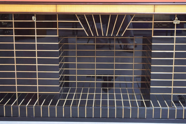 Italian Midcentury Bar Cabinet, Wood with Black Glass and Mirrors only 1 left 3