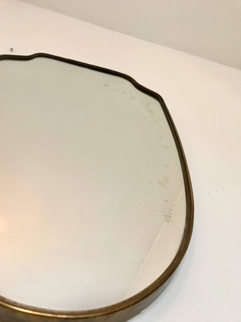 Italian Brass Frame Mirror  In Good Condition For Sale In Jersey City, NJ