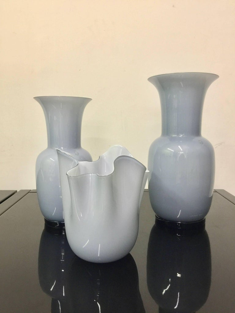 Set of three Venini Murano Glass Vases gray and white color combo  For Sale 8