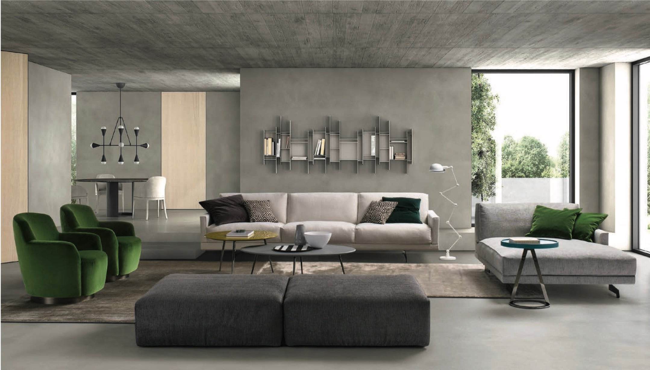 Italian Designer Sofa with Sculptural Arms Made in Italy, Fabric or Leather