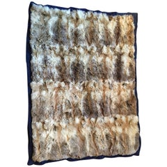 Natural Fox Throw Blanket custom size with corduroy seams and silk lining