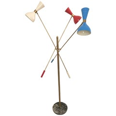 Italian Three-Arm Floor Lamp, 'Triennale' Arredoluce Style